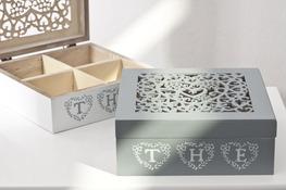 Pudełko zdobione drewniane na herbatę 18 x 18 x 7 cm - mix kolorów