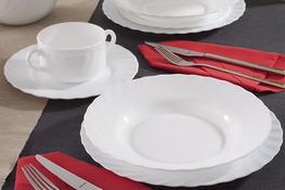 LUMINARC TRIANON WHITE Serwis obiadowy i kawowy 60/12