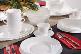 LUMINARC TRIANON WHITE Serwis obiadowy i kawowy 84/12