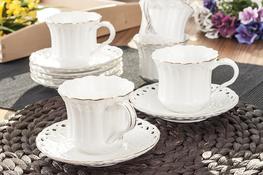 VERONI LAURA Serwis kawowy, herbaciany 12/6 filiżanki 200 ml