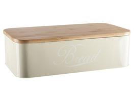 Chlebak z drewnianą bambusową pokrywą kremowy