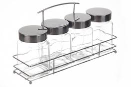 SZCZEPAN Komplet pojemników 4 sztuki plus stojak
