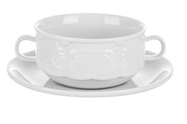 Bulionówka porcelanowa 300 ml ze spodkiem biała