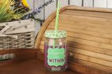 Słoik szklany ze słomką 0.4 L - zielony