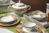BGH PORCELANA BOGUCICE Serwis obiadowy 25/6 Opal Gold