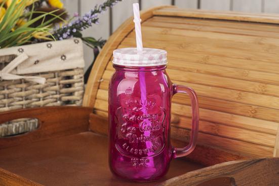 Słoik szklany ze słomką 0.7 L - mix kolorów