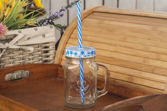 Słoik szklany ze słomką 0.5 L - mix kolorów
