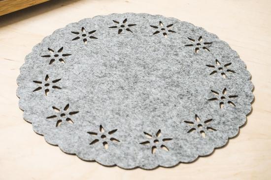 Mata filcowa okrągła 30 cm szara