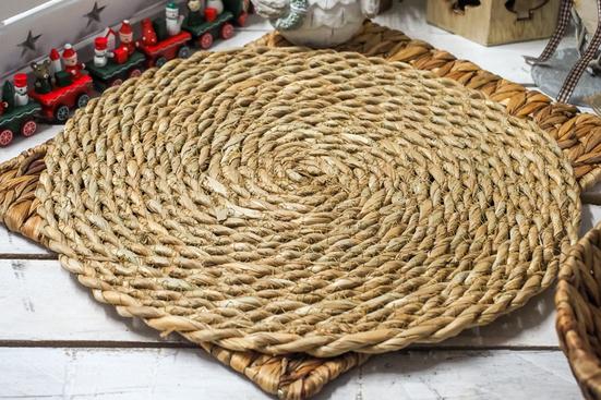 KOOPMAN Mata stołowa okrągła z trawy morskiej 40 cm
