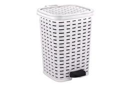 KATEX RATTAN Kosz na śmieci 6 L z pedałem biały