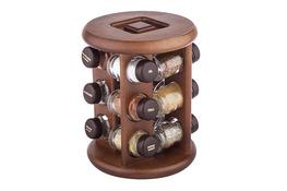 Drewniany stojak obrotowy na 12 przypraw - mix kolorów