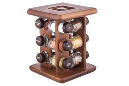 Drewniany stojak obrotowy na 12 przypraw mix kolor