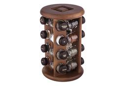 Drewniany stojak obrotowy na 16 przypraw - mix kolorów