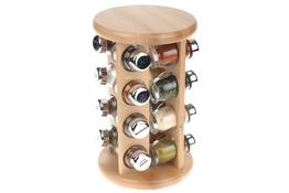 Drewniany stojak obrotowy na 16 przypraw mix kolorów