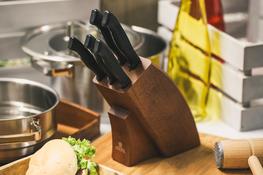 GERPOL ONYKS Noże kuchenne w bloku zestaw 5 sztuk