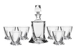 BOHEMIA QUADRO Karafka i szklanki do whisky 7 el.