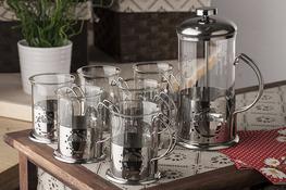 Zestaw do kawy i herbaty: zaparzacz + szklanki 6 sztuk - mix kolorów