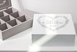 Pudełko zdobione drewniane, szkatułka 24 x 24 x 8 cm - mix kolorów