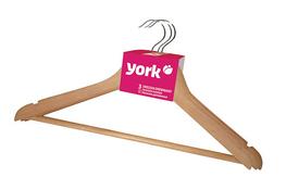 YORK Wieszak drewniany na ubrania 3 sztuki