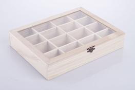 Skrzynka, pudełko drewniane na herbatę 27 x 21 x 5 cm