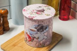 Puszka okrągła na ciastka, herbatę zestaw 2 sztuk - mix wzorów