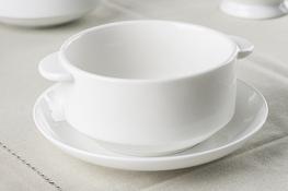 Bulionówka porcelanowa 300 ml ze spodkiem biała - mix wzorów