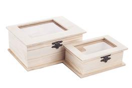 Pudełko drewniane z okienkiem decoupage 2 sztuki