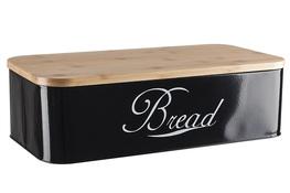 Chlebak z drewnianą bambusową pokrywą czarny