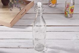 BIOWIN Butelka szklana z hermet. korkiem 1l