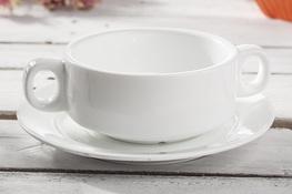Bulionówka porcelanowa 220 ml ze spodkiem biała