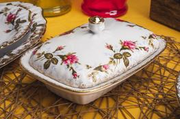 CHODZIEŻ IWONA ZŁOCONA RÓŻA B013 Maselnica porcelanowa