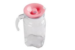 PASABAHCE LUNA Dzbanek szklany 1.7 L różową pokrywką