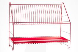METPOL Suszarka do naczyń 2 poziomy 50 cm czerwona + rynienka
