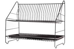 METPOL Suszarka do naczyń 2 poziomy 50 cm brązowa + rynienka