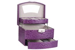 Kuferek, toaletka na biżuterię 18.5 x 15.5 x 13 cm fioletowy