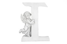 Literka I figurka z aniołkiem 13 cm