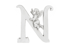 Literka N figurka z aniołkiem 13 cm