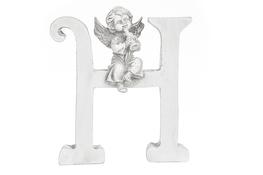 Literka H figurka z aniołkiem 13 cm