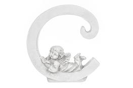 Literka C figurka z aniołkiem 13 cm
