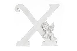 Literka X figurka z aniołkiem 13 cm