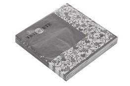Serwetki papierowe szare z koronkową ramką 20 sztuk 33 x 33 cm