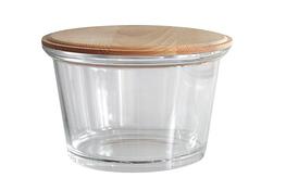 Jasło salaterka szklana 16.6 cm z drewnianą pokrywką