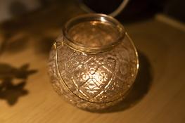 KOOPMAN Lampion świecznik szklany mały h-13 cm