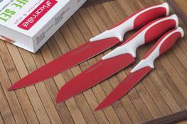 Kamille noże kuchenne czerwone zestaw 3 sztuk