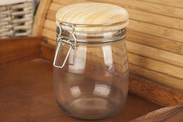 Słój, słoik 0.8 L z klipsem i drewnianą pokrywką