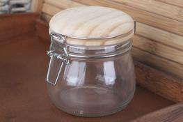 Słój, słoik 0.5 L z klipsem i drewnianą pokrywką