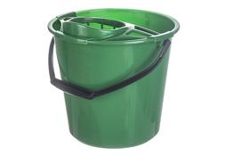 Świat wiadro plastikowe okrągłe 10 L z wyciskaczem zielone