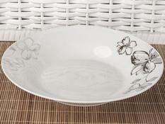 Talerz obiadowy głęboki ceramiczny 22.6 cm kwiaty