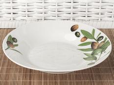 Talerz obiadowy głębokii ceramiczny 23 cm oliwki