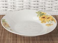 Talerz obiadowy głęboki ceramiczny 22.6 cm słoneczniki